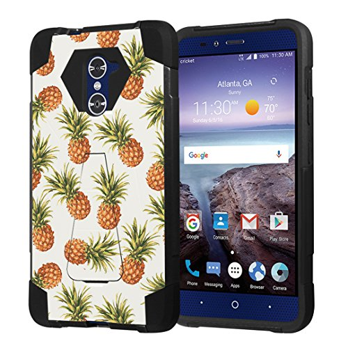 Grand Pineapple (ZTE Grand X Max2 Case, ZTE Imperial Max Case, ZTE Max Duo Case, Capsule-Case Hybrid Combat Kickstand Case (Black) for ZTE Grand X Max 2 / ImperialMax / MaxDuo - (Pineapple) )