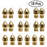 18 Pcs MK8 Extruder Nozzle M6 3D Printer Extruder Brass Nozzle Print Head with 7 Different Sizes (0.2mm, 0.3mm, 0.4mm, 0.5mm, 0.6mm, 0.8mm, 1.0mm) for 1.75MM MK8 Makerbot, ANET A8 and CR-10 Printer