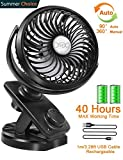 Stroller Fans Mini USB Desk Clip Fan,YXwin 2019 Newest Table Fan 40 Hours