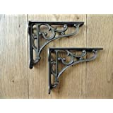 A PAIR OF SMALL CLASSIC VICTORIAN SCROLL SHELF BRACKETS 4 INCH BRACKET CAST IRON by knobs and knockers