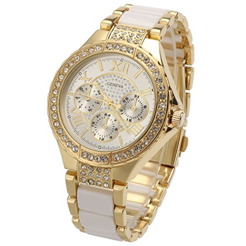 GESTORE Sale Women Round Bracelet Watch Ladies Gold Silver Designer Style Crystal - Style Designer Crystal