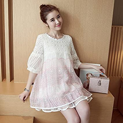 En verano las mujeres embarazadas con elegante vestido encaje flojo casuales vestidos más grande,M
