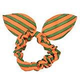 1PC Rabbit Ears Stripes Hair Ring Orange&Blue (C)