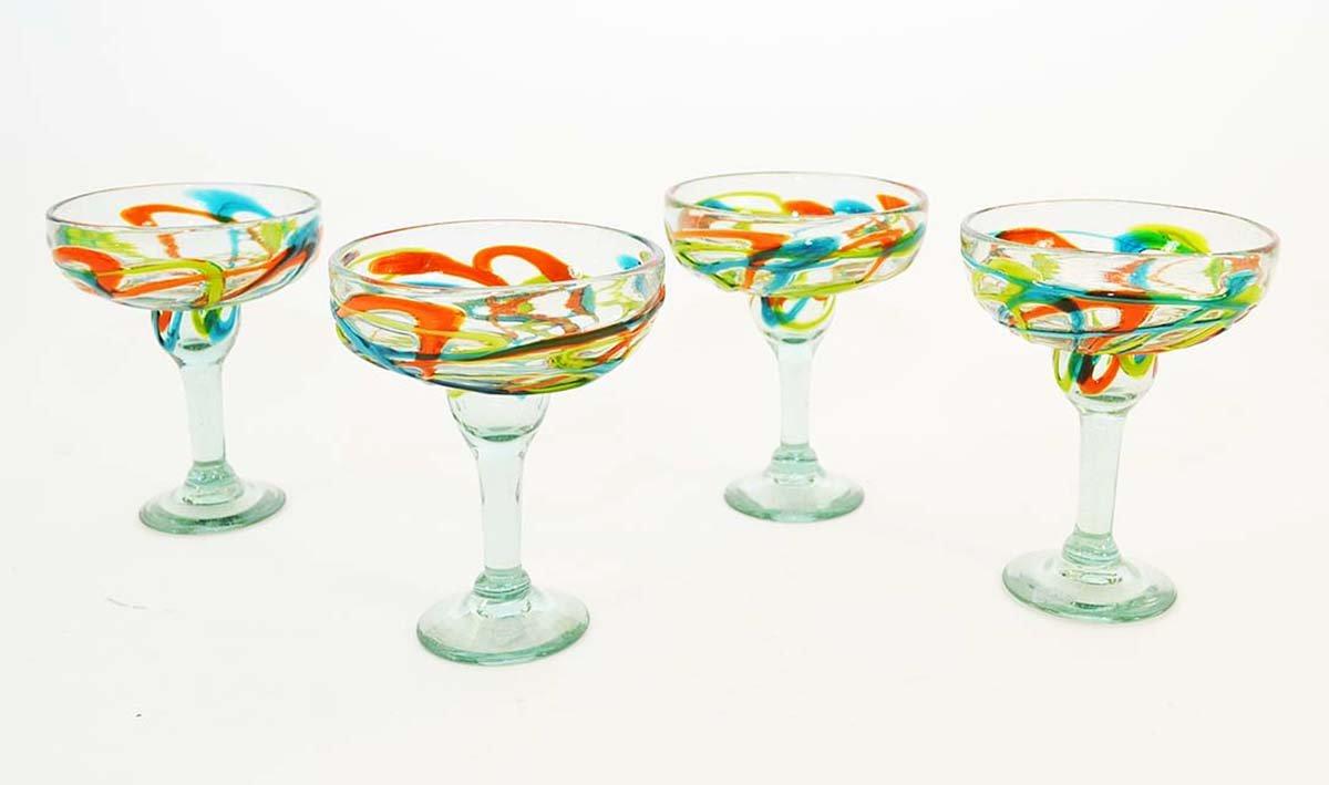 Set of 4, Green, Aqua and Orange Swirl Pattern Margarita Glasses-14 Ounces