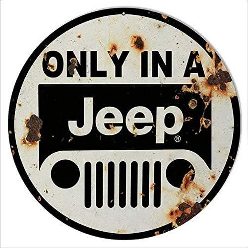 ABLERTRADE Plaque ronde en m/étal 30,5 x 30,5 cm avec inscription /« Aged Looking Only In A Jeep /»