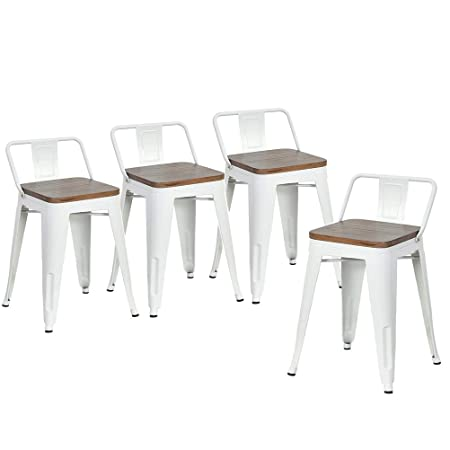 DeKea 18 Inch Metal Bar Stools with Wooden Top Dining Chairs Set of 4 for Kitchen or Indoor Outdoor Barstools, Low Back White