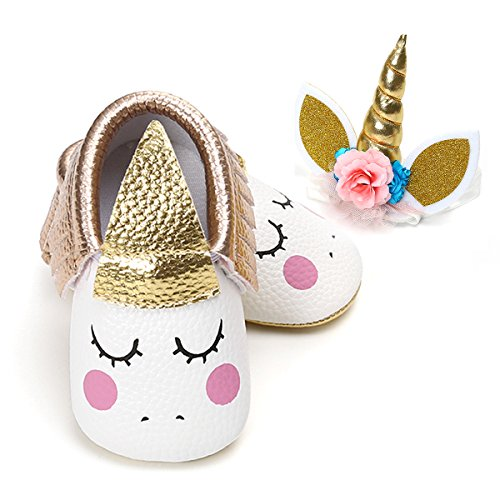 (LIVEBOX Unisex Baby Premium Soft Sole Infant Toddler Prewalker Anti-Slip Dress Crib Shoes with Free Baby Headband for Attend Wedding Birthday Party Events (Champagne, L))