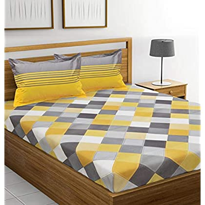 Ahmedabad Cotton 144 TC Cotton Double Bedsheet with 2 Pillow Covers – Yellow, Grey