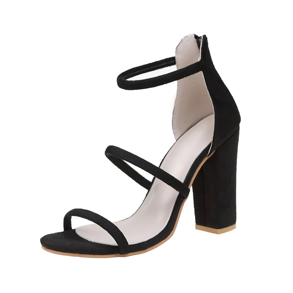 Women's Girls Sandals, [Spring Summer Chunky Heel Ankle Strap Sandals] Zip Open Toe ShoesRoma Shoes for Beach Party (US 5-US 9) (Black, US:6.5)