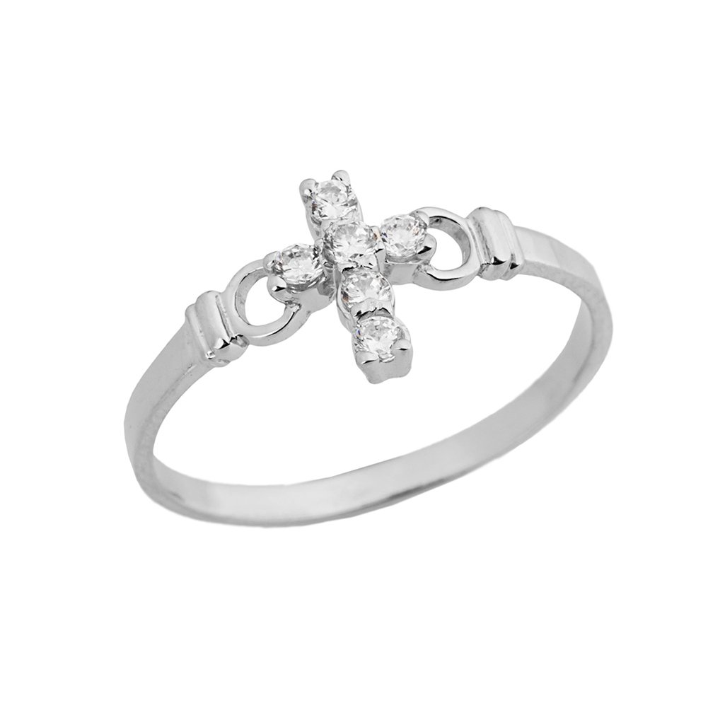 Elegant 14k White Gold CZ Christian Cross Ring (Size 6)