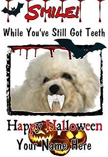 Bolognese Dog A5auguri personalizzato Halloween denti sorriso C11Spooky horror