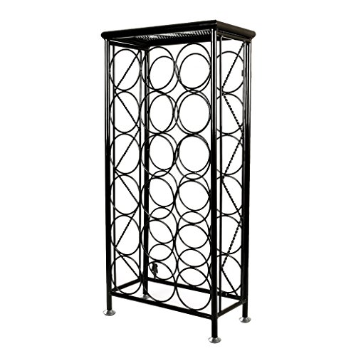Sleek Modern Circles Design Black Metal 18 Bottle Holder Free Standing Wine Organizer Rack Cellar Storage Tower (Metal Rack Wine Floor)
