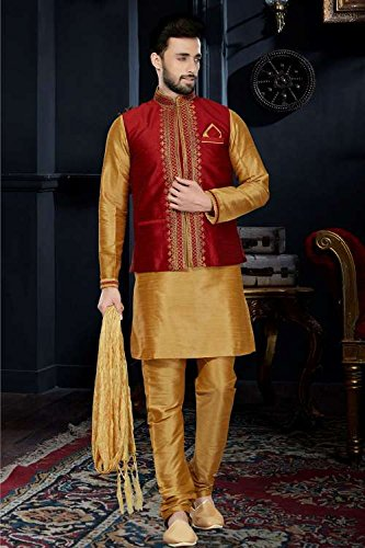 Jaipur Collections Mens Kurta Pajama Wedding Art Dupion Brown India Party Wear Set Of 3