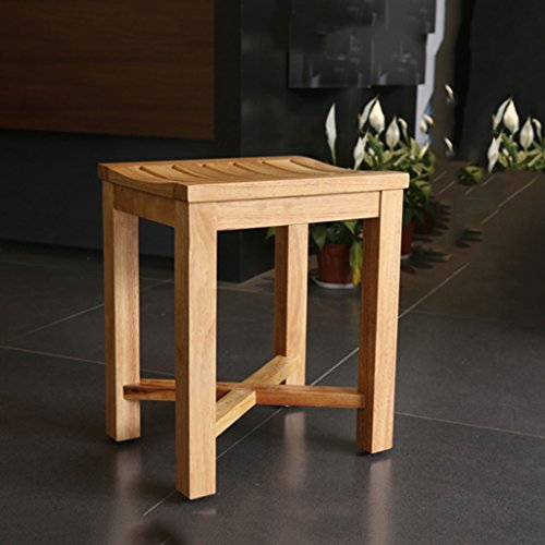 Bath & Shower Transfer Benches Bathroom stool waterproof footstool elderly bath stool, home solid wood stool anti-slip stool change shoe bench (Color : A, Size : ()