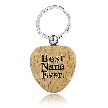 JUNGEN Llavero de Madera, Forma Corazón, Best Nana Ever ...