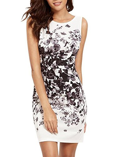 Elevesee Women's Floral Bodycon Cocktail Party Summer Dresses White Large