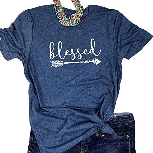 - Enmeng Womens Blessed Thankful Printed T-Shirt Casual Thanksgiving Christian Tee Tops (L, Blessed-Navy)