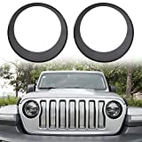 Danti {Upgrade Clip in Version Black Front Light Bezel Angry Bird Style Headlight Bezels Cover for 2018 Jeep Wrangler JL (2 pcs/Set)