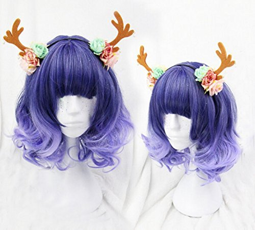 Sale!! Sweat Lolita Christmas Mint Deep Blue Color T Light Blue Color Ombre Wig Dark Root Short Stra...