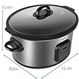 hOme 6 Quart Slow Cooker - Digital Programmable Crock Pot Slow Cooker with 10 Hour Timer Auto Shut Off and Food Warmer - Oval Crockpot Nonstick Removable Crock Stoneware and Stainless Steel Exterior