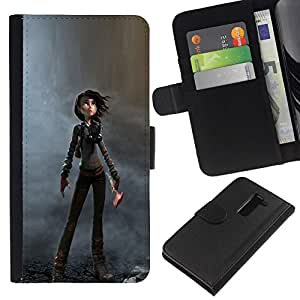 All Phone Most Case / Oferta Especial Cáscara Funda de cuero Monedero Cubierta de proteccion Caso / Wallet Case for LG G2 D800 // Woman Cartoon Character Dystrophic