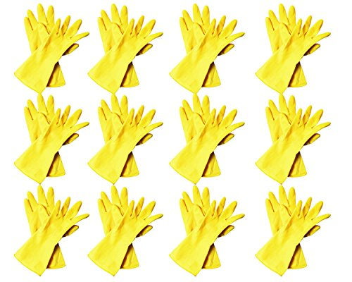 Minel Heavy Duty Disposable Yellow Rubber Latex Kitchen & Household Cleaning Gloves, Powder-Free, 12 Pairs Size Large
