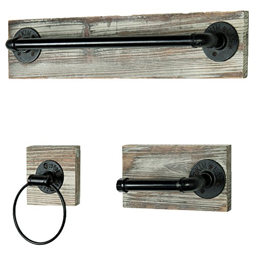 Industrial Rustic 3 pc Bathroom Fixture with Towel Bar, Towel Ring & Tissue Holder ()