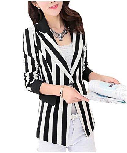 XQS Women Spring Summer Pinstripe Slim Oversized Blazer Jacket Coat White M White Pinstripe Blazer
