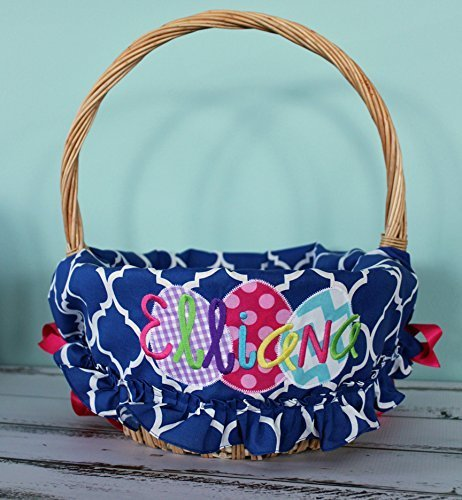 Personalized Easter Basket Liner - Royal Quatrefoil Ruffled - Personalized with Name