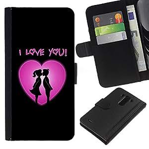 JackGot ( Ti amo cuore rosa ) LG G3 la tarjeta de Crédito Slots PU Funda de cuero Monedero caso cubierta de piel