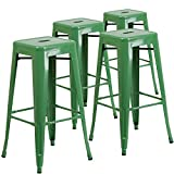 "Cheap Flash Furniture 4 Pk. 30"" High Backless Green Metal Indoor-Outdoor Barstool with Square Seat"