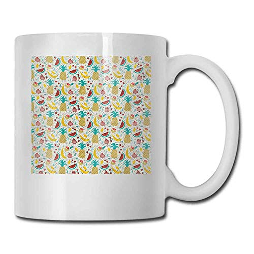 Series Honda Graphic - Coffee Cup Doodle Fruits Banana Pomegranate Pineapple Watermelon Lemon Kitchen Cafe Abstract Graphic Double-Sided 11 oz Multicolor