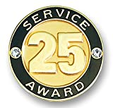 25 years of service pin - 25 Year Service Appreciation Gold Award Lapel Pin with Two Gemstones, 1 Pin
