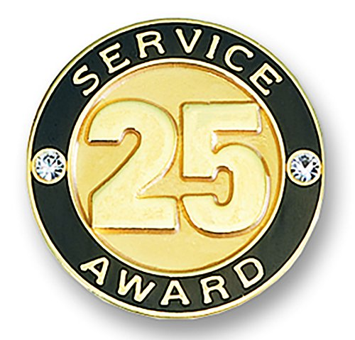 25 Year Service Appreciation Gold Award Lapel Pin with Two Gemstones, 1 (Stone Lapel Pin)