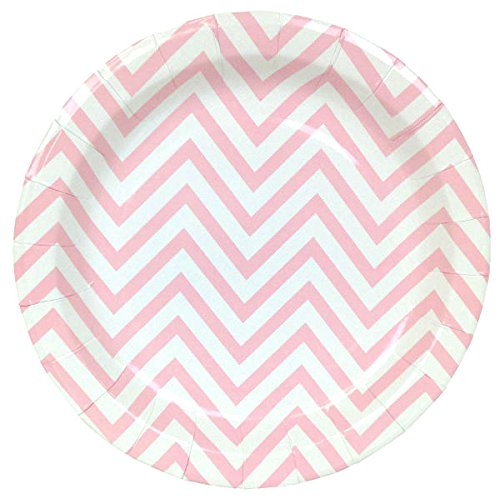 Just Artifacts Round Paper Party Plates 9in (12pcs) - Baby Pink Chevron - Decorative Tableware for Birthday Parties, Baby Showers, Grad Parties, Weddings, and Life Celebrations!