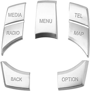 Auto Multimedia Tasten Abdeckung Multimedia Knopf Abdeckung Auto Multimedia Taste Abdeckung Knopf Rahmen Auto Multimedia Taste Autoinnenausstattung Für 123 Series 5 X1 X3 X5 X6 Silber Auto