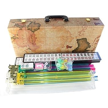 American Mahjong Set in World Map Case with 18  Set of 4 Pushers, 166 Tiles(Mah Jong mah Jongg Mahjongg)
