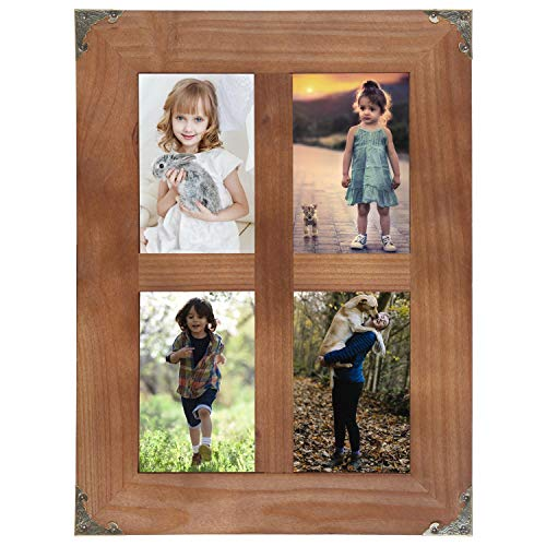 SOLOUR 4x6 Picture Frames Collage, Rustic Farmhouse Decor 4 Opening 4x6 Picture Frame with Decorative Metal Corners for Table Top Display and Wall mounting Photo Frame (Brown, 16.2x12.2 inch) (4 X 6 Picture Frame Collage)