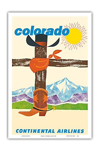 Pacifica Island Art Colorado - Continental Airlines - Cowboy Hat Bandana Boots - Vintage Airline Travel Poster c.1960 - Master Art Print - 12in x 18in - Tour Master Vintage Boots