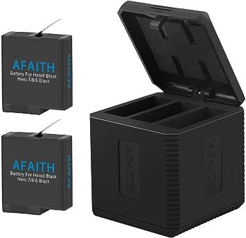 AFAITH Cargador de batería para Gopro, Base de Carga Triple con 2 ...