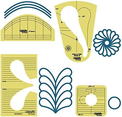 High Shank Westalee Design Meadow Dance Feather Focus Template Set and Ruler Guide Book