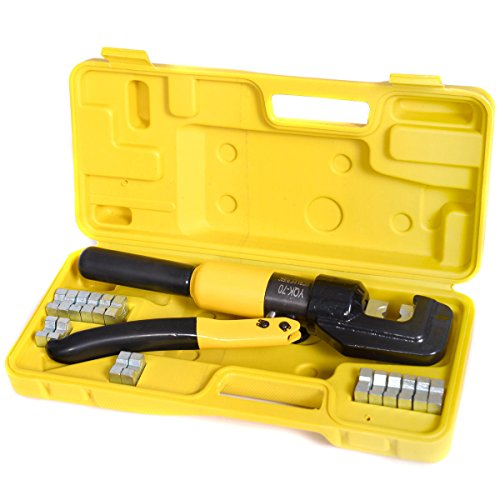 JAXPETY 10 Ton Hydraulic Wire Battery Cable Lug Terminal Crimper Crimping Tool 9 Dies
