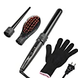 light up flat iron - 3 in 1 Curling Iron Set with 2 Interchangeable Curling Wand Ceramic Barrels and Hair Straightening Brush and Heat Protective Glove