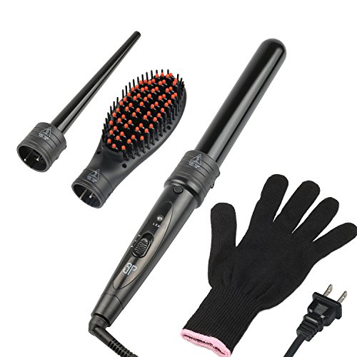 (3 in 1 Curling Iron Set Curling Wand with Hair Straightening Brush and 2 Interchangeable Curling Wand Ceramic Barrels & Heat Protective Glove)