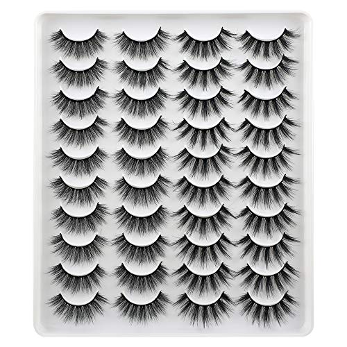 2 Styles Mixed Fake Eyelashes, FANXITON 20 Pairs Fluffy False Lashes Natural Volume 3D Faux Mink Lashes Pack