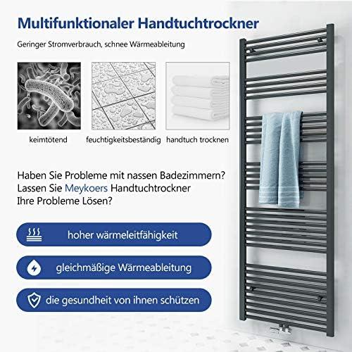 Heizk/örper Badheizk/örper 1200x600mm 695 Watt Leistung Wei/ß Handtuchtrockner Heizk/örper Bad Mittelanschluss