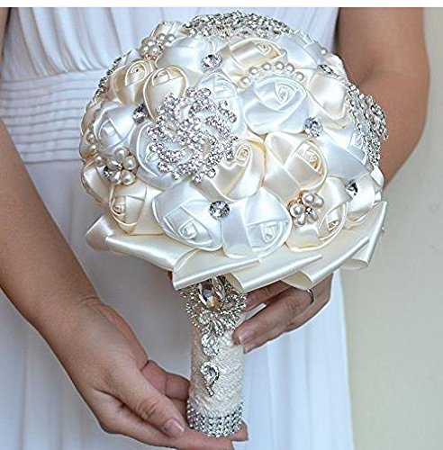 Abbie Home Advanced Customization Romantic Bride Wedding Holding Toss Bouquet Rose with Pearls and Rhinestone decorative brooches Accessories-Multi color selection (Milk White) Christmas Corsages And Boutonnieres