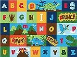 Teach Me Alphabet Learning Carpets Dinosaur Friends Educational Play Mat Bedding Area Rug, 40''x50'',Multicolor