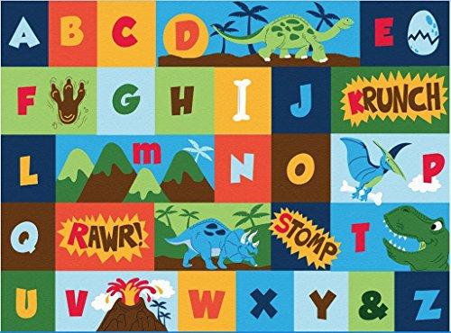 Gertmenian Teach Me Alphabet Learning Carpets Dinosaur Friends Educational Play Mat Bedding Area Rug, 40