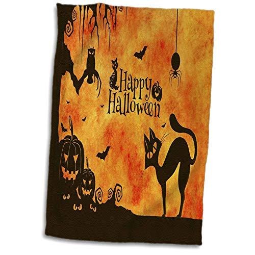 3dRose Sandy Mertens Halloween Designs - Cat, Owl, Bats, Spider, Jack o Lanterns Silhouettes, 3drsmm - 15x22 Hand Towel (twl_290231_1) ()